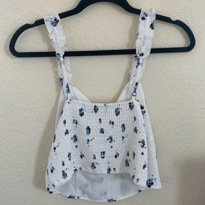 Abercrombie & Fitch Tops - Abercrombie & Fitch White Frilled w/ Flowers Tank